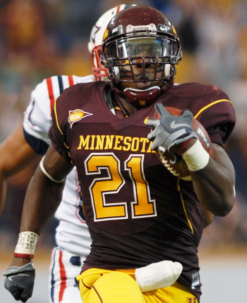 Junior lineback Simoni Lawrence runs back an interception for a touchdown in Minnesota's win over FAU. The Gophers will need to take their defense on the road to Columbus Saturday.