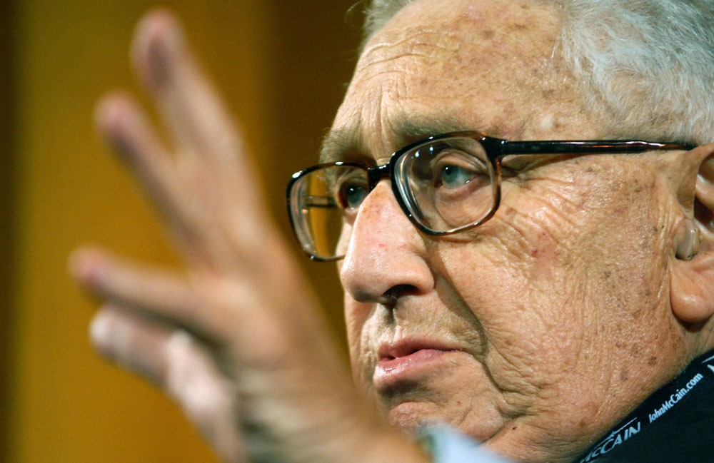 """Former Secretary of State Henry Kissinger speaks at a political forum Thursday at the Humphrey Institute of Public Affairs.  Kissinger and other foreign policy leaders addressed the topic """"Democracy and America's Role in the World."""""""