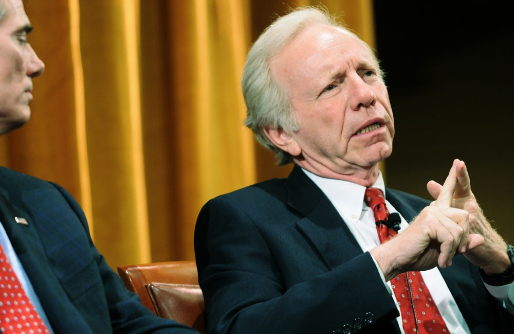 U.S. Sen. and former Vice Presidential nominee Joe Lieberman speaks during a political forum on Wednesday at the Humphrey Institute.