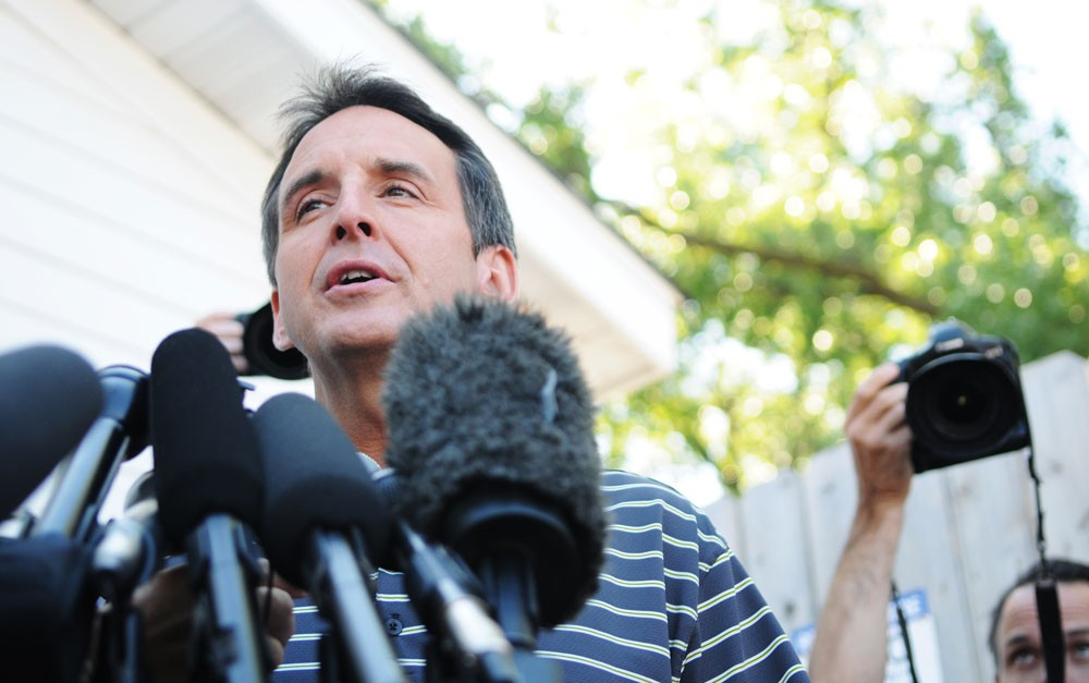 "Governor Tim Pawlenty speaks to media personnel during a press conference after being a guest on WCCO radio's ""Good Morning Minnesota Live from the Minnesota State Fair."" Pawlenty voiced his continued support for McCain and his choice for Vice President."