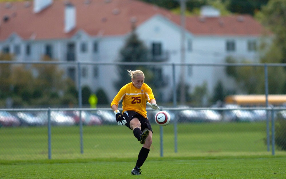 Senior goalie Lindsey Dare lets loose on a ball last season. Dare has taken advantage of the Gophers' solid defense all year as she has recorded five shut outs in six games this season.
