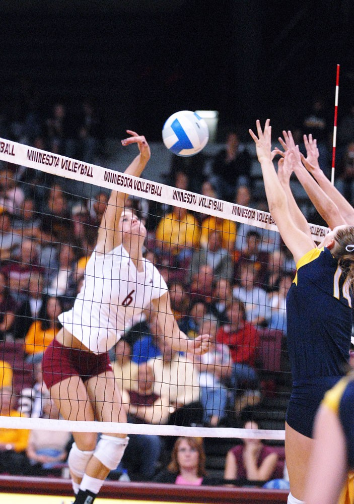 Sophomore outside hitter Brook Dieter sends a ball back during a match last season. Dieter took home tournament MVP honors, due mostly to her 14 kills and .428 hitting percentage.