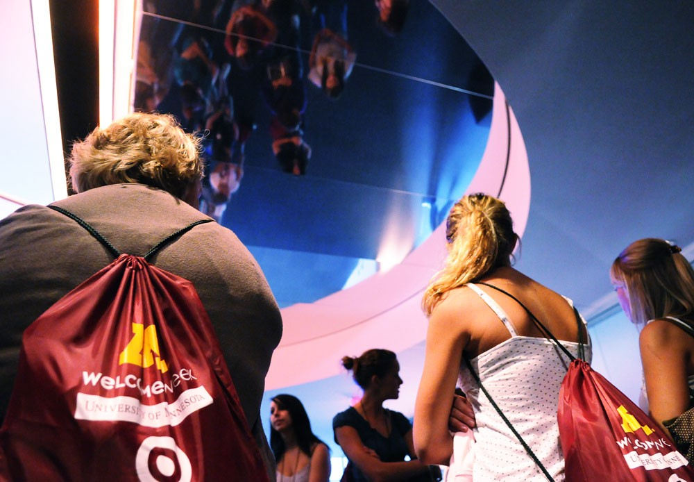 Incoming College of Design freshmen Hannah Ludens, Laura Schultz and Alex Hudella tour the Guthrie Theater during Welcome Week on Friday. The goal of the tour was to familiarize students with the University and their college, while introducing big design concepts.
