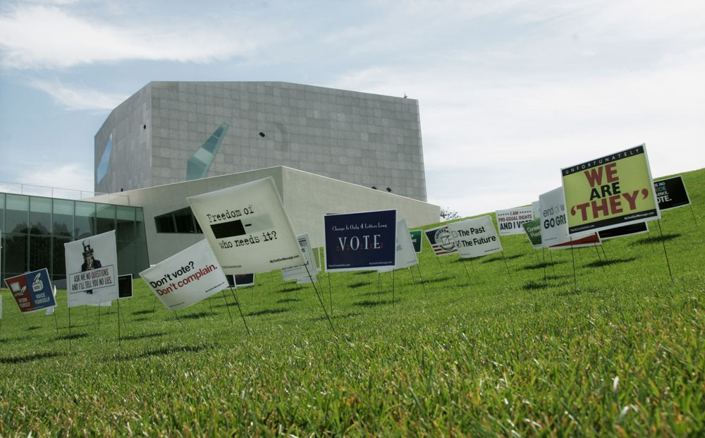 """""""My Yard, Our Message"""", a project allowing artists to create political yard signs on the Internet and submit them for a competition, are on display at the Walker Art Center. The top 50 signs will be distributed to Seward neighborhood, Dayton's Bluff and West Side neighborhood."""