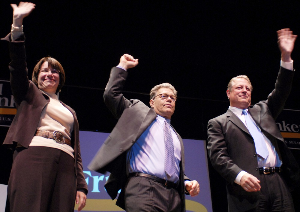 Al Franken and Al Gore spoke at the DFL Founder's Day celebration in Northrop Auditorium. Mondale attended.