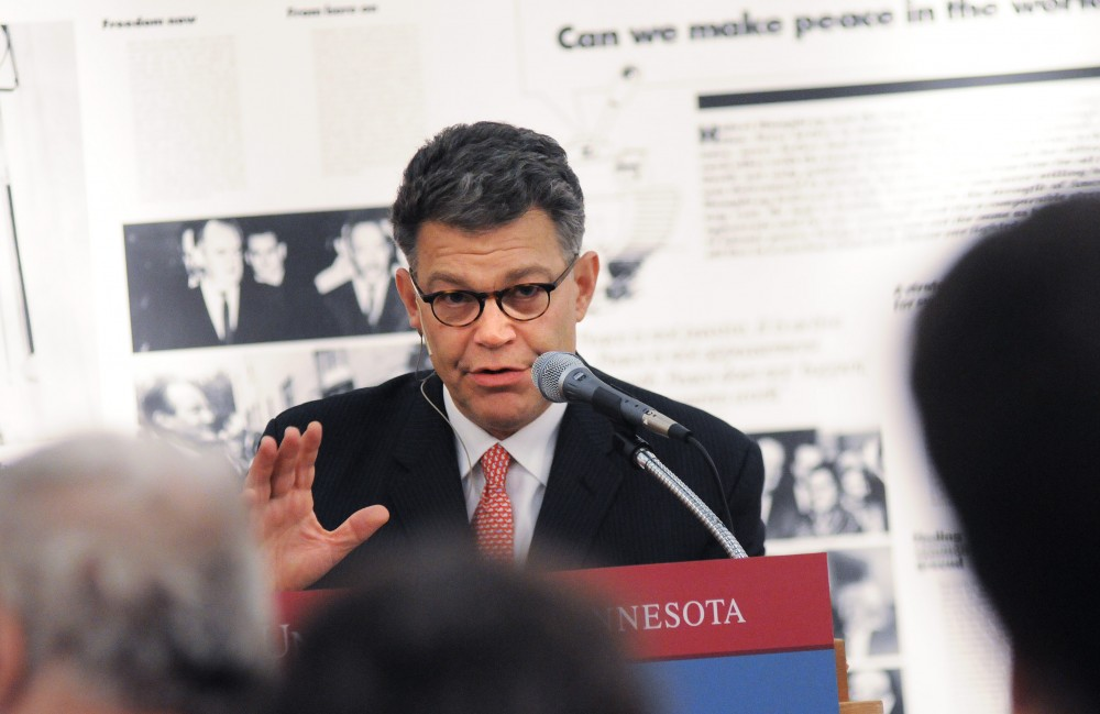 Democratic candidate for senate Al Franken speaks at a forum in the Hubert H. Humphrey Institute on Wednesday. Franken focused on economic issues spending a large portion of his time criticizing the recent Emergency Economic Stabilization Act.