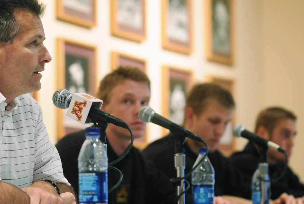 From left to right, head coach Don Lucia, junior captain Ryan Stoa, junior assistant captain Ryan Flynn and senior assistant captain Justin Bostrom field questions from the media Wednesday afternoon at Mariucci Arena.