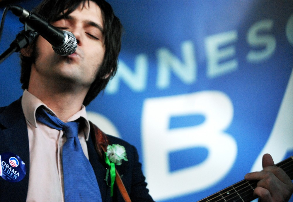 Conor Oberst and the Mystic Valley Band play a concert in support of Barack Obama at Loring Pasta Bar Wednesday afternoon. Attendees of the free performance agreed to sign up for two get-out-the vote volunteer shifts during the final six days of the presidential campaign.