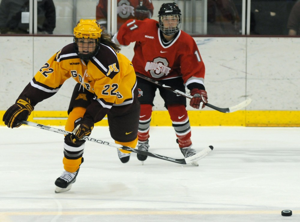 Freshman defenseman Anne Schleper chases down the puck at Ridder Arena during one of the Gophers two games against Ohio State over the weekend.