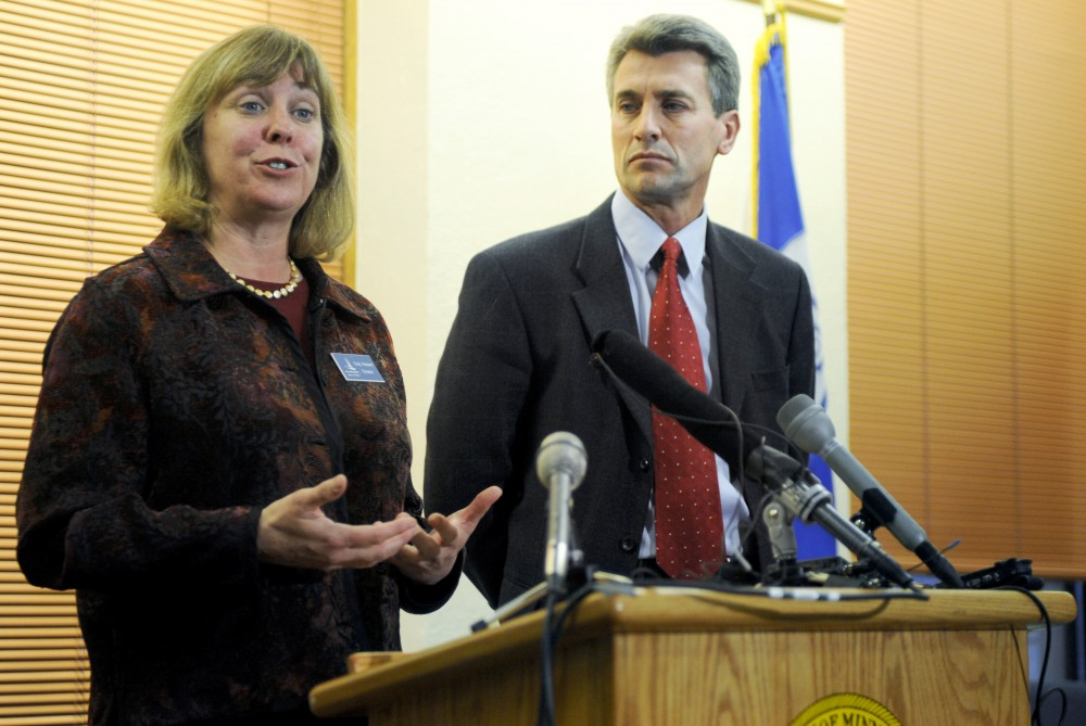 Minneapolis Elections Director Cindy Reichert explains the ballot process Monday at City hall with Minneapolis Mayor R.T. Rybak. An alleged 133 ballots are missing from a Dinkytown precinct.