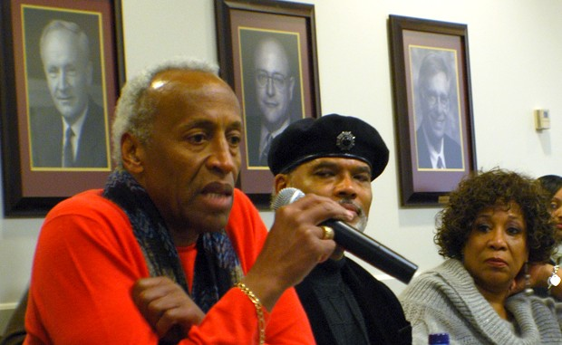John Wright and Marie Braddock Williams look on while Lester Cannon reflects the legacy of their actions during the takeover of Morrill Hall in 1969. Participants at the round-table discussion Saturday also included members of The Way organization during 1969, community activists and current U of M students.
