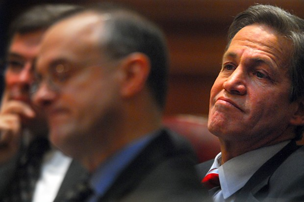 Norm Coleman, right, and his lawyers listen to opening statements made by his attorney Joe Friedberg (not pictured) at the Minnesota Judicial Center in St. Paul, Minn., on January 27, 2008.(Pioneer Press: Ben Garvin)