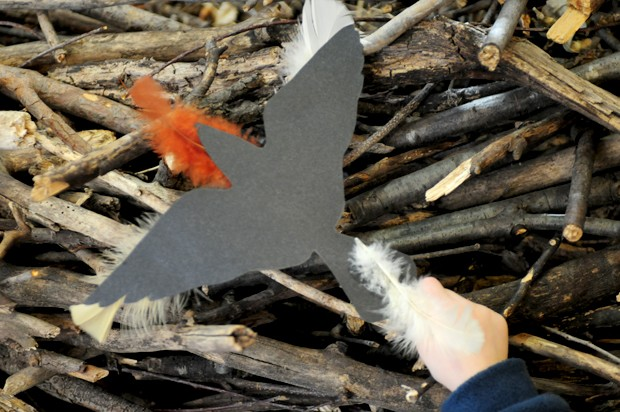 During the monthly Raptor Tails Story Time, kids constructed paper birds to learn about raptor flight and behavior.