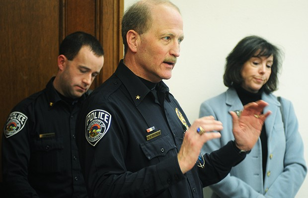 University Police chief Greg Hessness, middle, gives details of the suspect arrested in connection with 11 assaults during an afternoon press conference Wednesday.
