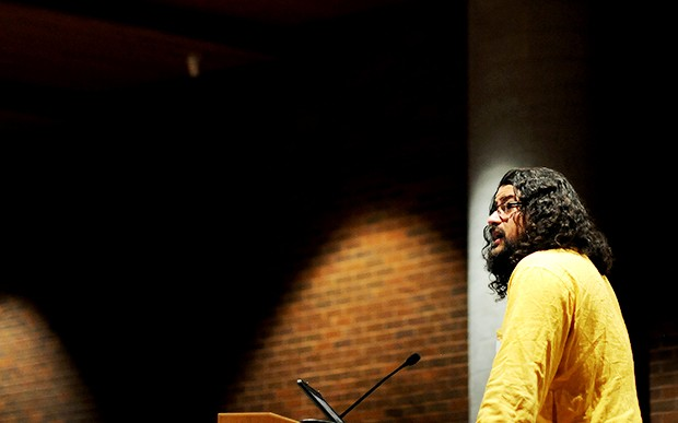 Dr. Ashis Brahma speaks about his experiences with the people of Darfur during a workshop on genocide on Saturday in Mondale Hall.