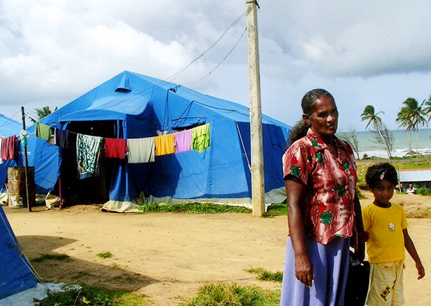 Displaced families in Sri Lanka were put in temporary housing after the 2004 tsunami. The Red Cross estimates that 11,000 houses are still needed to house all of the displaced victims of the 2004 disaster.