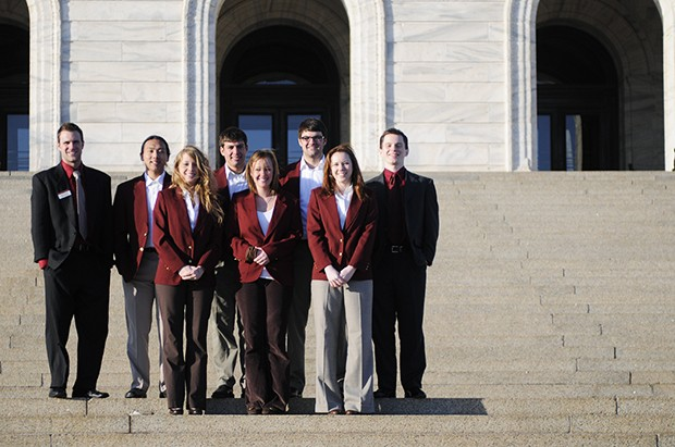 Students practicing lobbying at the Capitol for the Legislative Certificate Program.