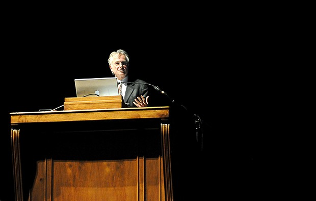 """World renowned evolutionary biologist and atheist Dr. Richard Dawkins spoke to a crowded Northrop Auditorium on Wednesday about """"the purpose of purpose"""" and why humans are obsessed with rationale."""