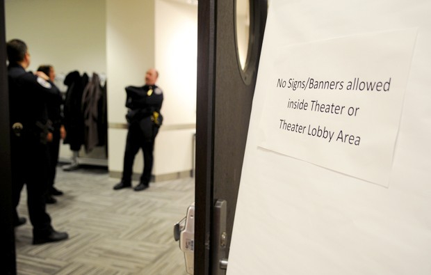 A sign outside of Coffman Memorial Union's theater warns not to bring in signs during University of Minnesota Bob Bruininks' State of the University address on Thursday.