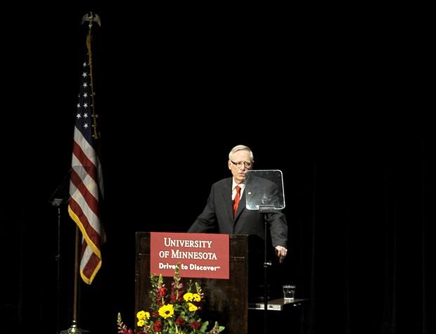 University of Minnesota President Bob Bruininks gives the State of the University address in Coffman Memorial Union on Thursday.