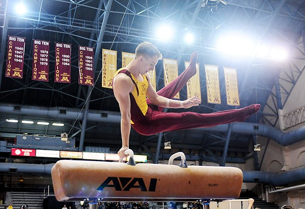 Senior Kit Beikmann competes on the pummel horse during the Gophers matchup with the top-2 teams in the country as No. 1 Stanford and No. 2 Oklahoma came to compete at the Sports Pavilion. Gophers coaches and gymnasts said it had an NCAA championship type atmosphere.