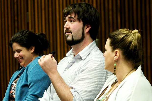 Jessica Zaldivar, left, Derek Blechinger, middle, and Loretta Worthington spoke about the challenges of discussing sexual health matters with patients at a panel discussion Monday.