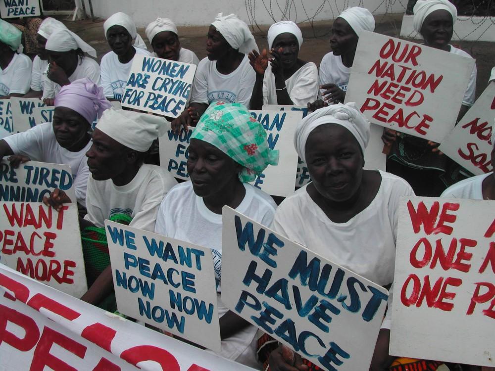 Women demonstrators during the civil war in Monrovia. PHOTO COURTESY YEWEE FLOMOKU