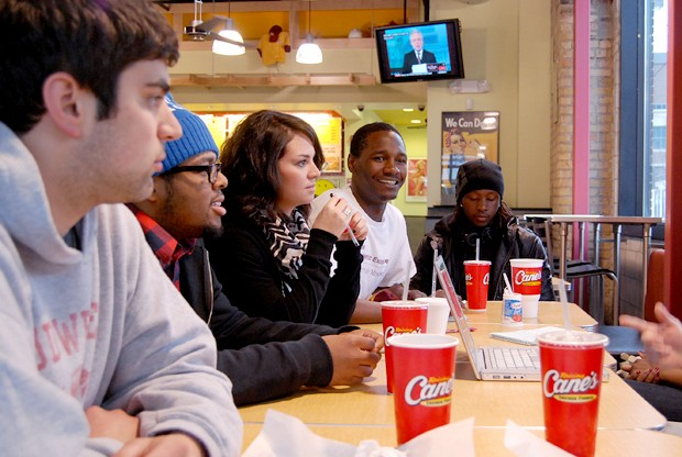 Students in the Cypher Coalition met Wednesday at Raising Cane's resturant to eat, discuss, and freestyle. The next event for the student run hip-hop group is a discussion on women in Hip Hop on April 8th.