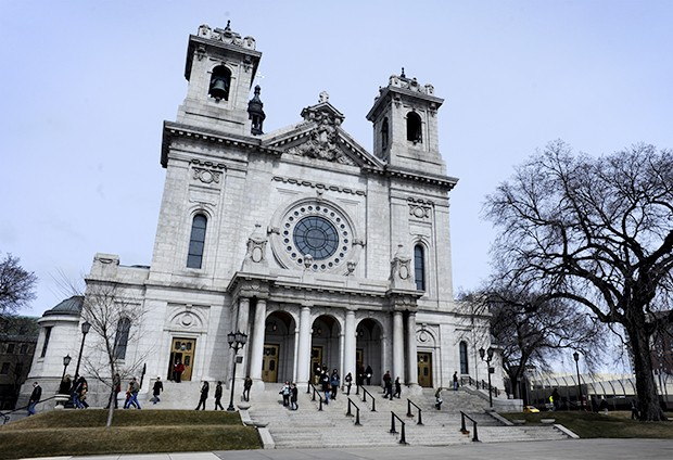 "People leave the Basilica of St. Mary after service on Sunday. The percent of Americans who claim ""no religion"" has almost doubled, jumping from just over eight percent of the population to 15 percent."
