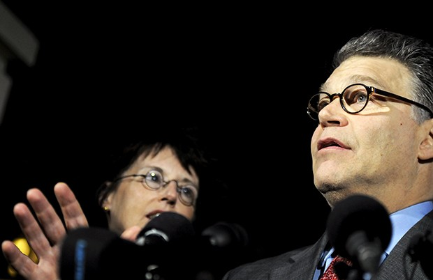 Democrat Al Franken speaks Monday at a press conference at his home in reaction to the Senate trial ruling in his favor earlier in the day.