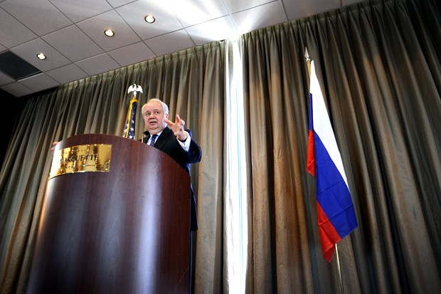 Russian Ambassador Sergey Kislyak gives a speech to the Minnesota International Center in the IDS Tower on Tuesday. Sergey discussed the current state of international trade between the United States and Russia.