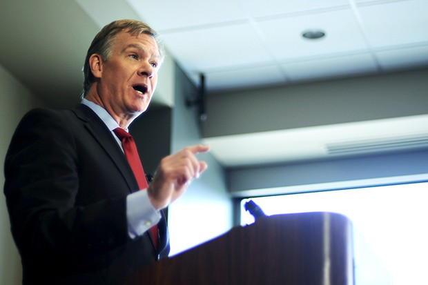 St. Paul Mayor Chris Coleman gives his State of the City address Monday at St. Josephs Hospital. The Mayor's speech touched on the current economic hardships, but was positive about the city's future.