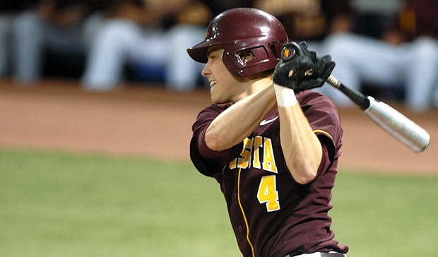 Minnesota's Kyle Geason takes a cut during a game at the Metrodome this year. The true freshman went 3-for-3 with a double and an RBI from the nine-spot in the lineup against North Dakota State Wednesday, as the Gophers slugged their way to an 8-1 midweek win.
