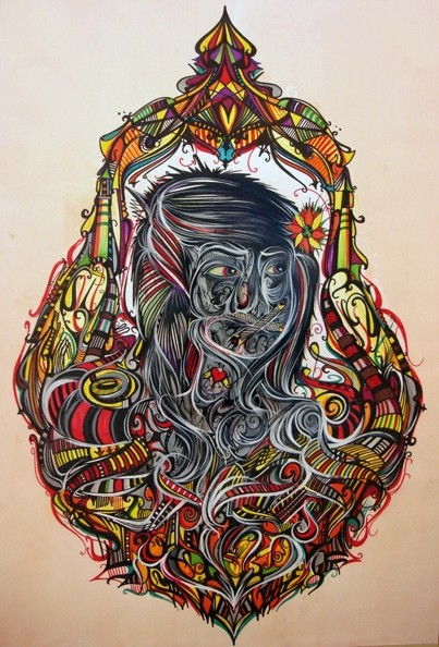 """""""Erin Jesme Christ"""" by Deuce 7 displays the artists' vibrant colors and dark themes. PHOTO COURTESY DEUCE 7"""