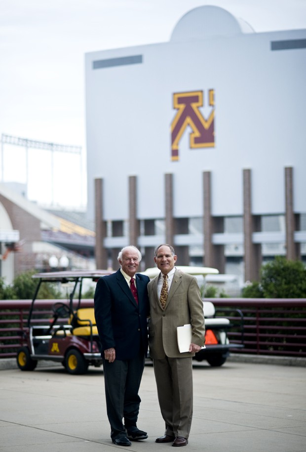 Stadium Donor T. Denny Sanford and Athletics Director Joel Maturi stand in front of the unfinished TCF Bank Stadium before a tour last Tuesday. Sanford donated 6 million dollars which is the largest personal gift towards the stadium.