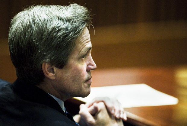 Republican Norm Coleman watches lawyers debate during the Senate Appeal hearing on Monday in the Minnesota Judicial Center in St.Paul. The hearing was held before the Minnesota Supreme Court in order to overrule Democrat Al Franken's senate victory.