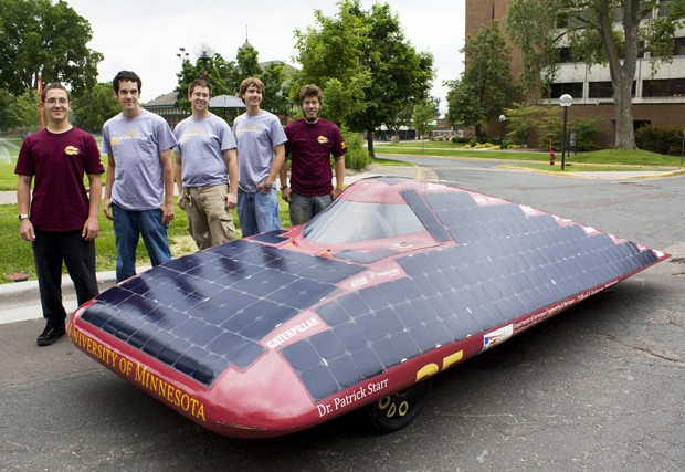 From left to right, Nikolay Kovalev, Daniel Gerbig, Alan Jacobs, John Olson, Adam Rudin and Jason Grimes are a part of the University of Minnesota's Solar Vehicle Project team.
