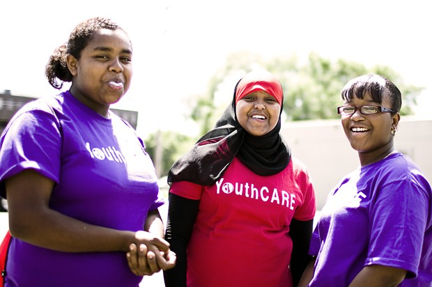Patricia Hanks, Rahma Mohamed and China Robinson are part of a Minneapolis youth mentoring program that partners with STEP-UP. The girls started their first day at YouthCARE on Monday in Minneapolis, learning how to open and manage a bank account, among other new skills.