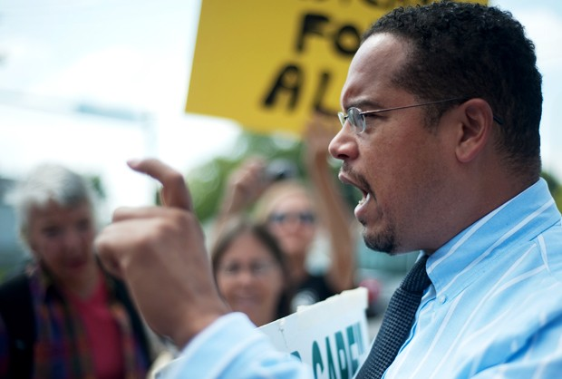 U.S. Rep. Keith Ellison, D-Minn., speaks at a health care rally on Sept. 3 in North Minneapolis.