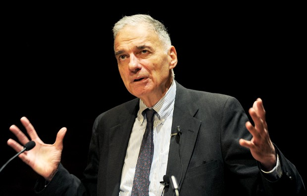 Ralph Nader addresses the social responsibilities of attorneys Wednesday at Mondale Hall.