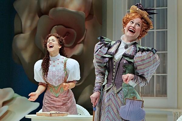 Erin Krakow as Cecily Cardew and Heidi Armbruster as Gwendolyn Fairfax in the Guthrie Theater production of Oscar Wilde