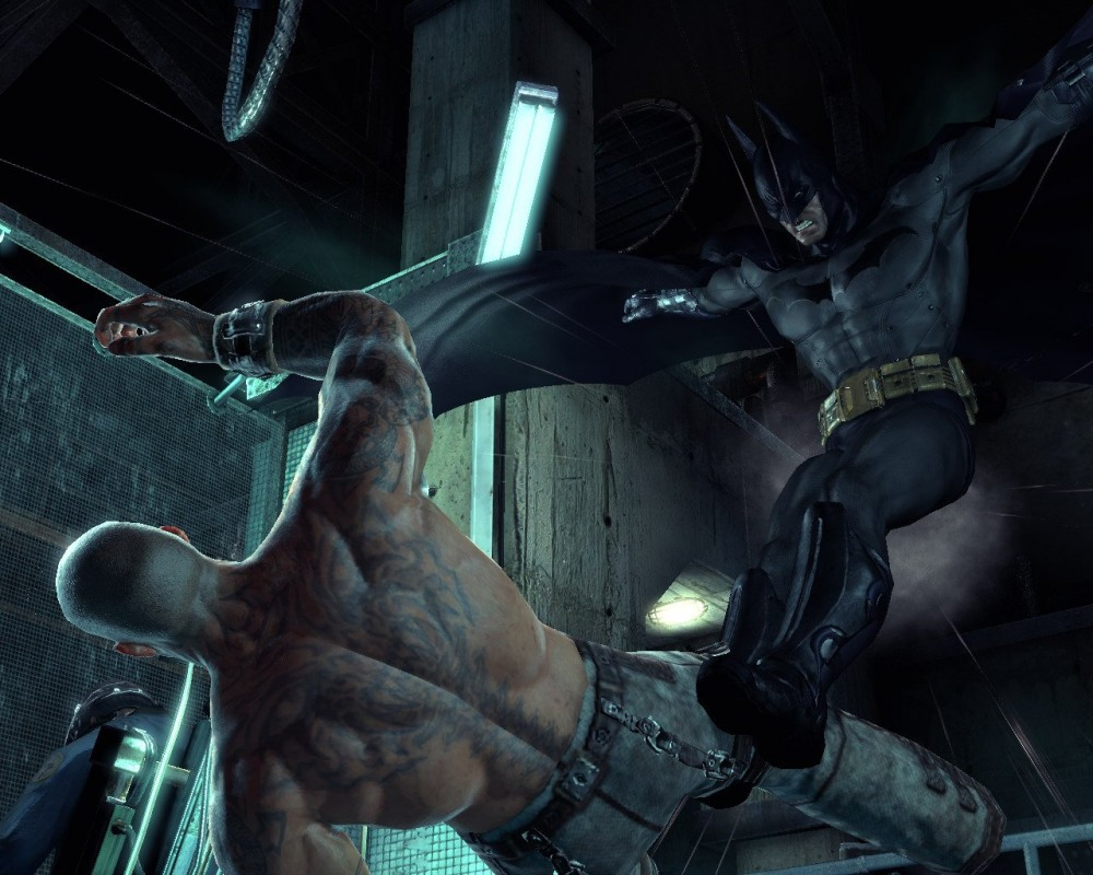 Batman delivering justice in the form of a flying kick PHOTO COURTESY ROCKSTEADY STUDIOS