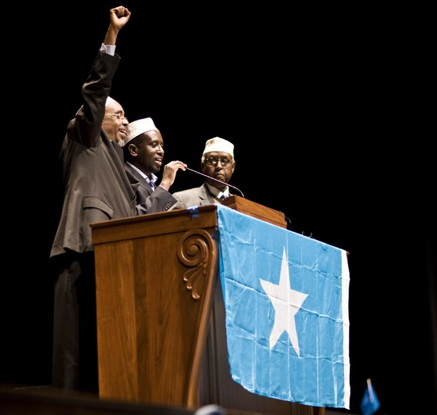 From left to right, Sharif Hassan Sheikh Adan, President Sheikh Sharif Sheikh Ahmed and Foreign Minister Ahmed Ali speak at Sunday at Northrop.  Jules Ameel, Daily