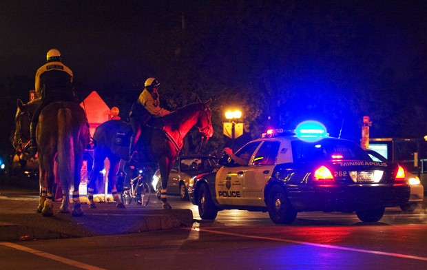 Minneapolis and University police patrol Dinkytown Saturday night as part of Enhanced Police Coverage.