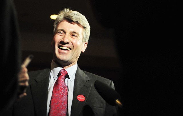 Minneapolis Mayor R.T. Rybak talks with press Tuesday evening at his election party at the Graves 601 hotel downtown.