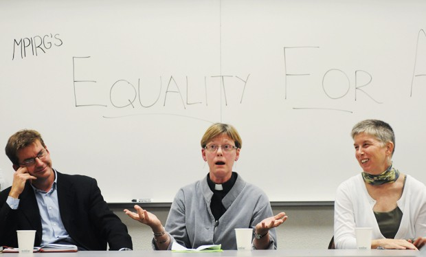 Senator Scott Dibble, left, Pastor Mary Albing, center, and community member Lori Lippert discuss equal rights marriage legislation Thursday in Smith Hall.