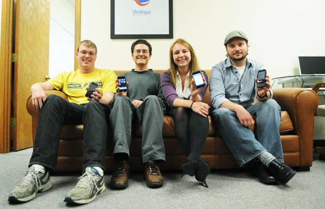 From left to right, software developer Bret Jackson, senior software developer Shaun Reynolds, marketing generalist Ashleigh Lincoln and institutional sales Josh Miedema of Ultralingua, a company that creates dictionary and translation software for desktop operating systems and smartphones.