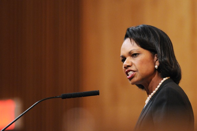 Former Secretary of State Condoleezza Rice speaks at Beth El Synagogue in St. Louis Park Sunday as a part of a National Speaker Series.