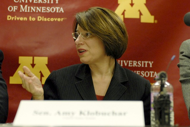 Minnesota senator Amy Klobuchar talks and answers questions regarding the H1N1 Flu vaccine on Friday.