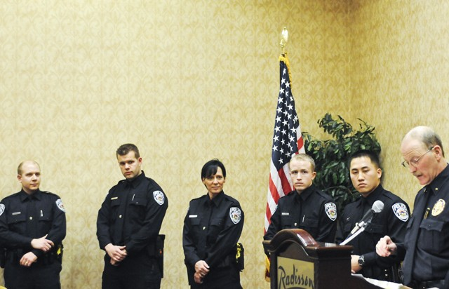 Four men and one woman were sworn in as University of Minnesota Police officers in the Radisson hotel on Wednesday.  The five officers bring to 50 the department's total.